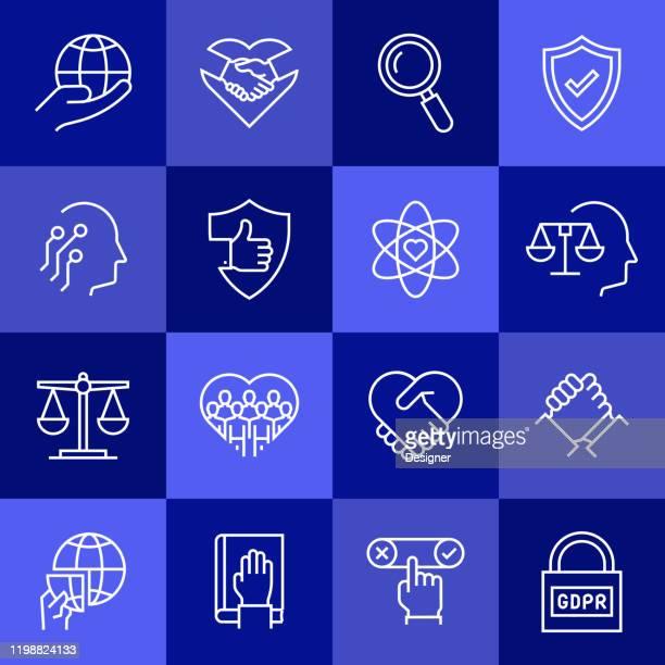 ilustrações de stock, clip art, desenhos animados e ícones de simple set of business ethics related vector line icons. outline symbol collection - atitude