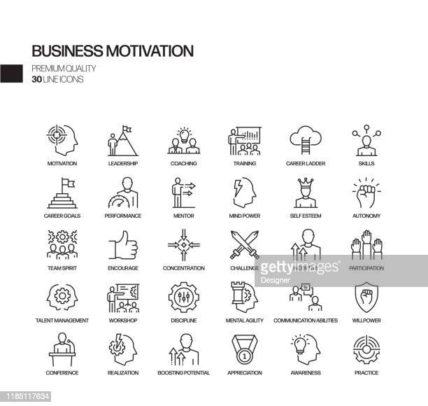 illustrazioni stock, clip art, cartoni animati e icone di tendenza di semplice set di icone di linea vettoriale correlate alla motivazione aziendale. insieme outline symbol. - collega d'ufficio