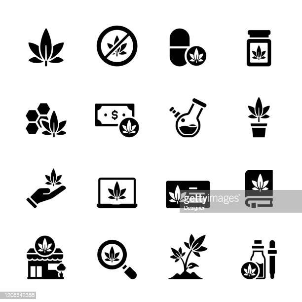 simple set of cannabis related vector icons. symbol collection - medical cannabis stock illustrations