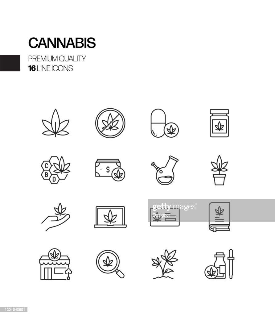 大麻関連ベクトルラインアイコンのシンプルなセット。アウトラインシンボルコレクション : ストックイラストレーション