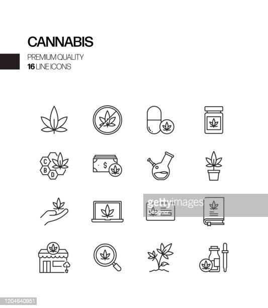 大麻関連ベクトルラインアイコンのシンプルなセット。アウトラインシンボルコレクション - 大麻草点のイラスト素材/クリップアート素材/マンガ素材/アイコン素材