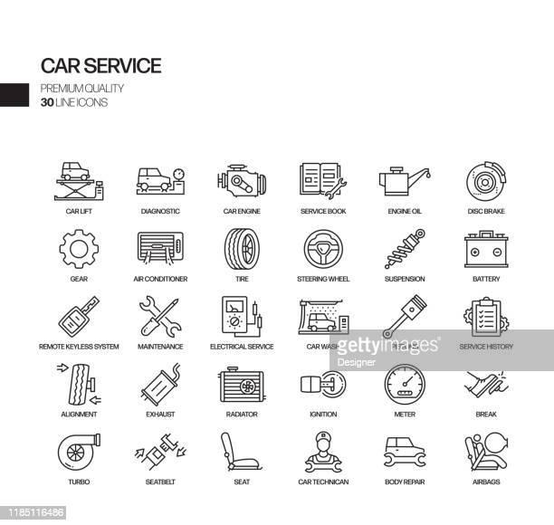 illustrazioni stock, clip art, cartoni animati e icone di tendenza di semplice set di icone di linea vettoriale correlate al servizio auto. insieme outline symbol. - motore