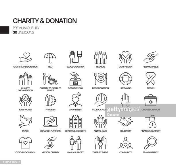 illustrazioni stock, clip art, cartoni animati e icone di tendenza di simple set of charity and donation related vector line icons. outline symbol collection. - affettuoso