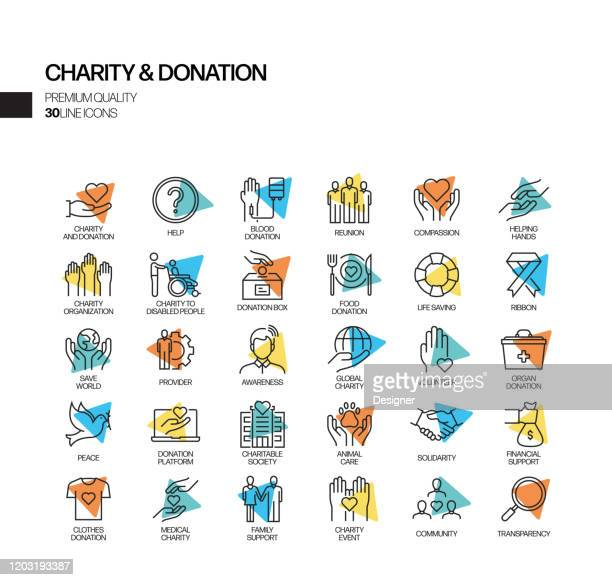 illustrazioni stock, clip art, cartoni animati e icone di tendenza di semplice set di icone della linea vettoriale relativa alla beneficenza e alla donazione. insieme outline symbol. - organizzazione no profit