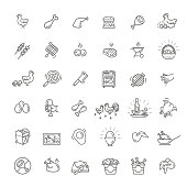 Simple Set of Chicken Meat Related Vector Line Icons