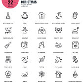 Simple set of christmas related vector line icons