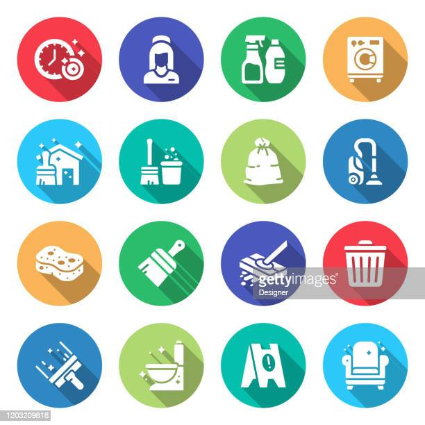 simple set of cleaning related vector flat icons. symbol collection. - cleaning stock illustrations