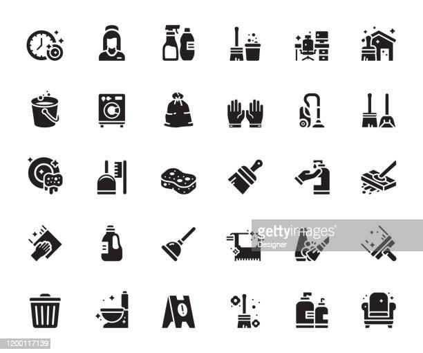 クリーニング関連のベクトルアイコンのシンプルなセット。シンボル コレクション。 - 掃く点のイラスト素材/クリップアート素材/マンガ素材/アイコン素材
