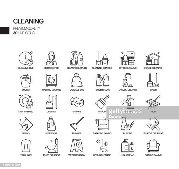 simple set of cleaning related vector line icons. outline symbol collection. - clean stock illustrations