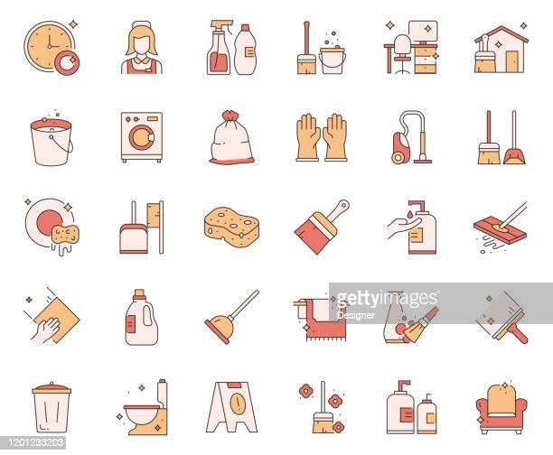 simple set of cleaning related vector line icons. outline symbol collection. - housework stock illustrations