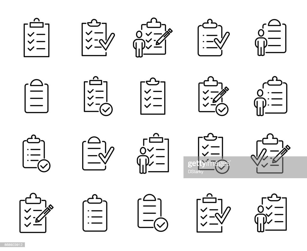 Simple set of clipboard related outline icons