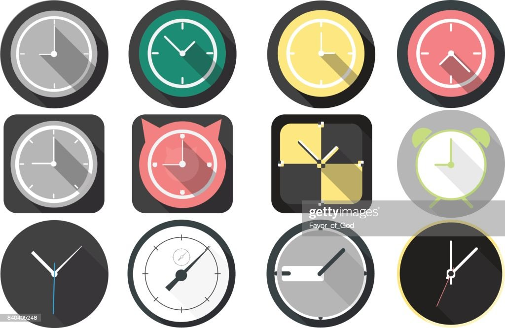 Simple Set of clock Vector Icons.