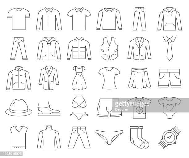 ilustraciones, imágenes clip art, dibujos animados e iconos de stock de conjunto simple de iconos de línea vectorial relacionados con la ropa. colección de símbolos de esquema. trazo editable - blouse