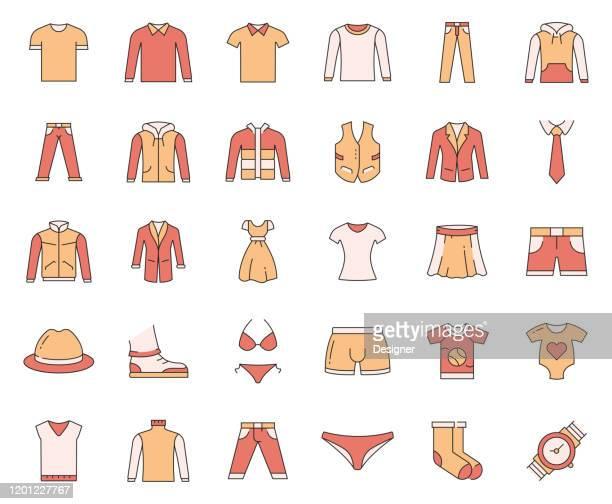 ilustrações, clipart, desenhos animados e ícones de jogo simples de ícones relacionados da linha do vetor da roupa. coleção de símbolos de esboço. - blouse