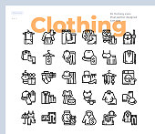Simple Set of Clothing .Vector Icons. Editable Stroke. 48x48 Pixel Perfect