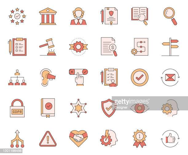simple set of compliance related vector line icons. outline symbol collection - identity politics stock illustrations