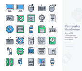 Simple Set of Computer Hardware .Vector  Icons. Editable Stroke. 48x48 Pixel Perfect
