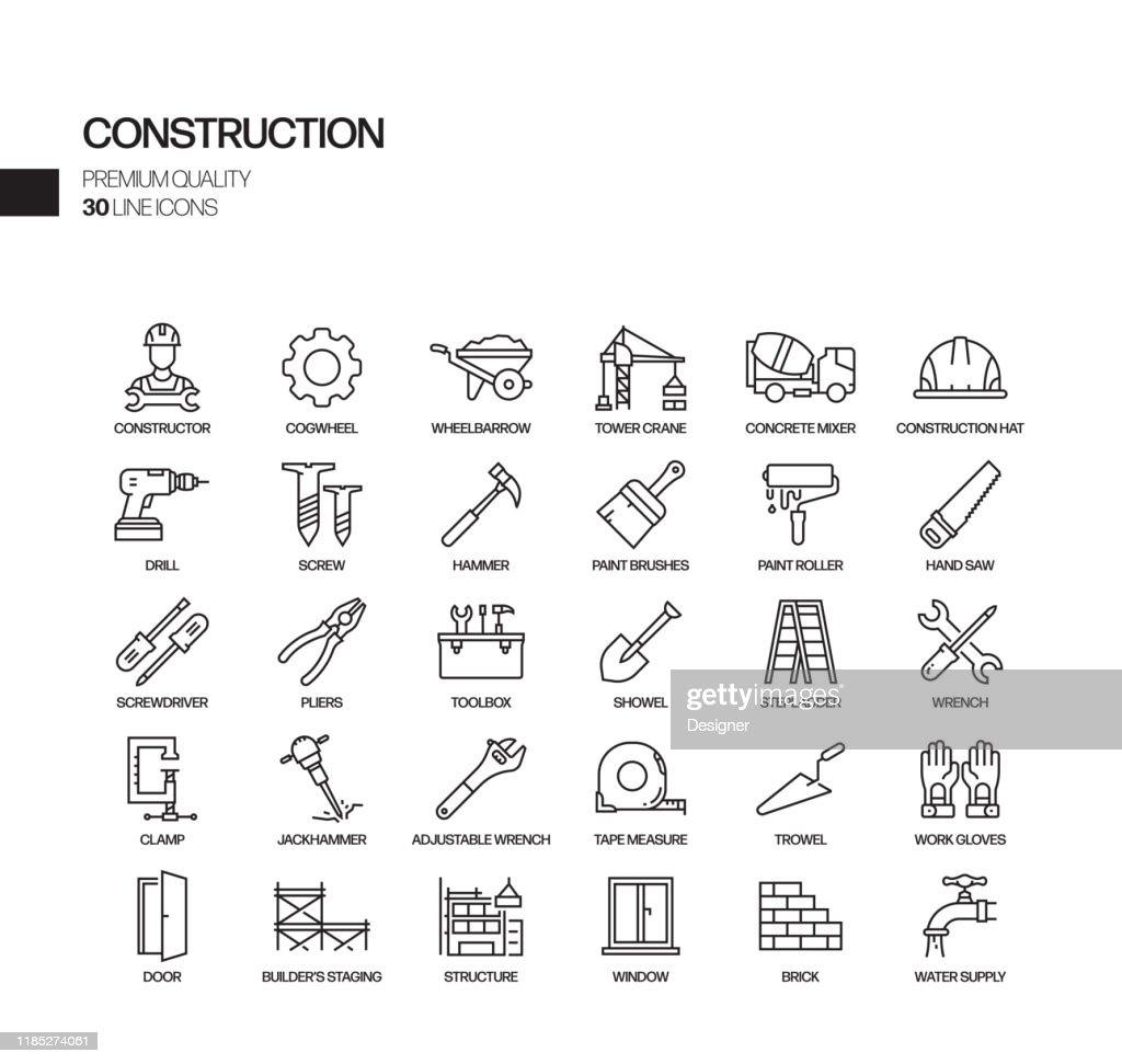 Eenvoudige set van constructie gerelateerde vector lijn iconen. Overzichts symbool verzameling. : Stockillustraties