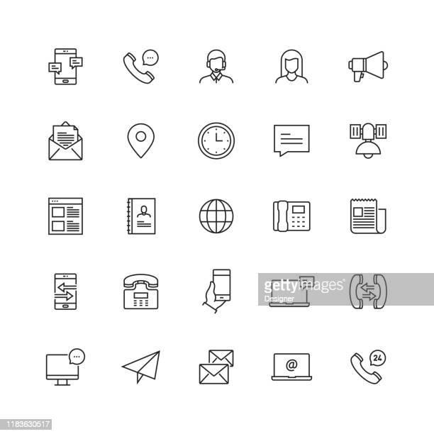 einfache set von kontakt uns und support verwandte vektor linie icons - adressbuch stock-grafiken, -clipart, -cartoons und -symbole