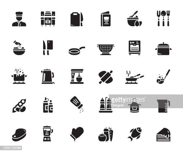 料理関連のベクトルアイコンのシンプルなセット。シンボル コレクション。 - 主婦業点のイラスト素材/クリップアート素材/マンガ素材/アイコン素材