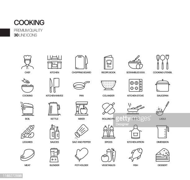 simple set of cooking related vector line icons. outline symbol collection. - frying pan stock illustrations