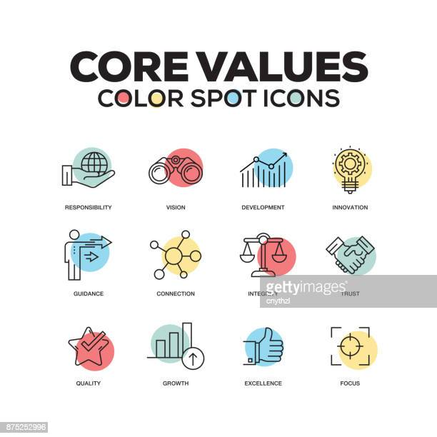 simple set of core values color vector line icons - employee stock illustrations