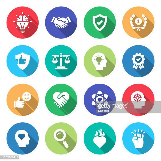 simple set of core values related vector flat icons. symbol collection. - morality stock illustrations