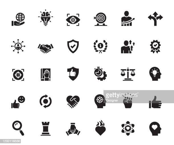 stockillustraties, clipart, cartoons en iconen met eenvoudige set van kernwaarden gerelateerde vector iconen. symbool verzameling. - hardnekkigheid