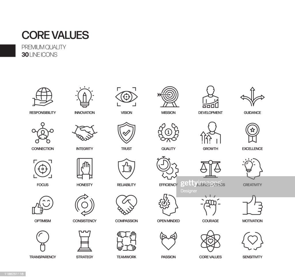 Eenvoudige set van kernwaarden gerelateerde vector lijn iconen. Overzichts symbool verzameling. : Stockillustraties