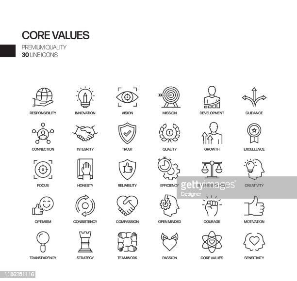 simple set of core values related vector line icons. outline symbol collection. - social issues stock illustrations