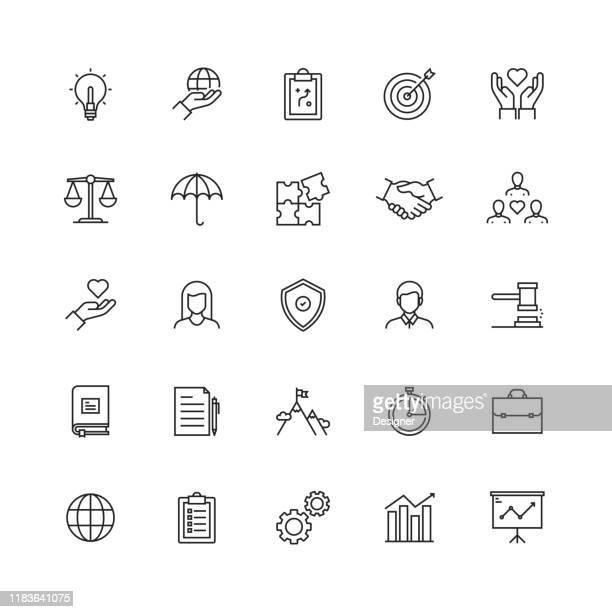 einfacher satz von kernwerten verwandte vektorliniensymbole - employee stock-grafiken, -clipart, -cartoons und -symbole