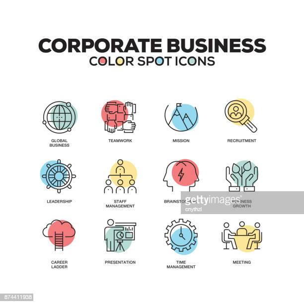 simple set of corporate business color vector line icons - explaining stock illustrations