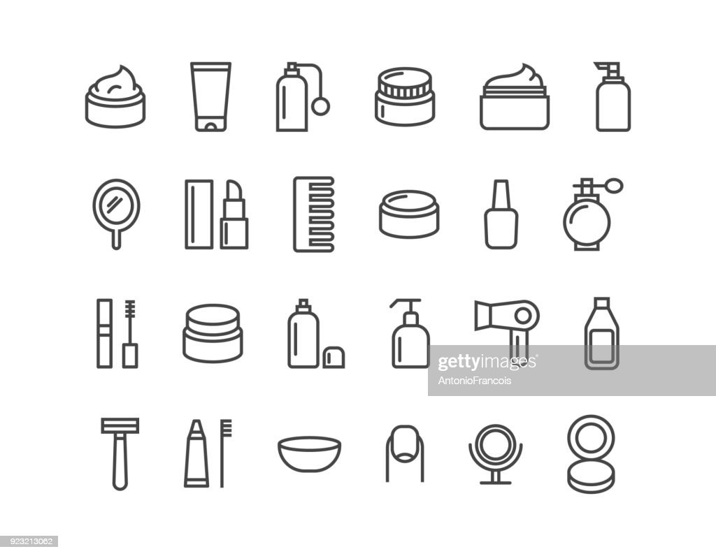 Simple Set of Cosmetics Related Vector Line Icons. Icons as Cream. Editable Stroke. 48x48 Pixel Perfect.