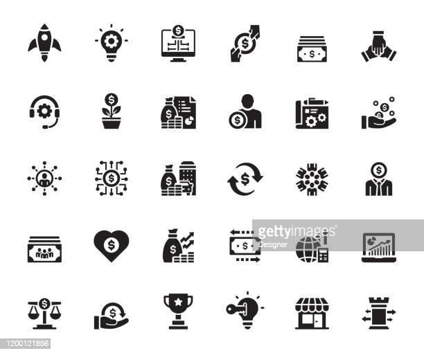 bildbanksillustrationer, clip art samt tecknat material och ikoner med enkel uppsättning crowdfunding relaterade vektor ikoner. symbol samling. - sponsra