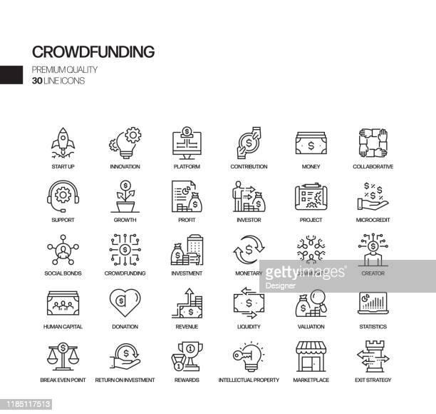 クラウドファンディング関連のベクトルラインアイコンのシンプルなセット。アウトライン記号コレクション。 - クラウドソーシング点のイラスト素材/クリップアート素材/マンガ素材/アイコン素材
