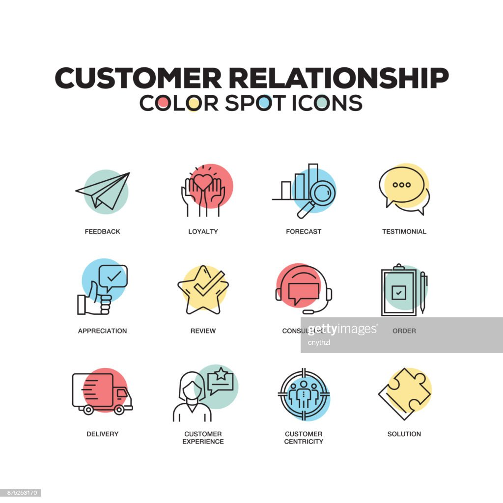 Simple Set of Customer Relationship Color Vector Line Icons : stock illustration