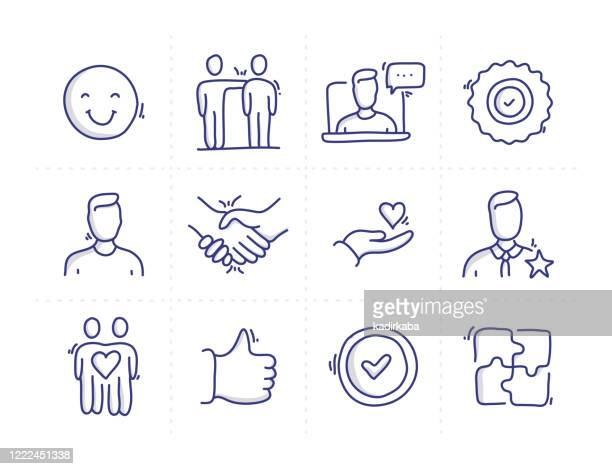 simple set of customer relationship related doodle vector line icons - loyalty stock illustrations