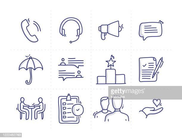 stockillustraties, clipart, cartoons en iconen met eenvoudige set van klantrelatie gerelateerde doodle vector line iconen - klantbetrokkenheid