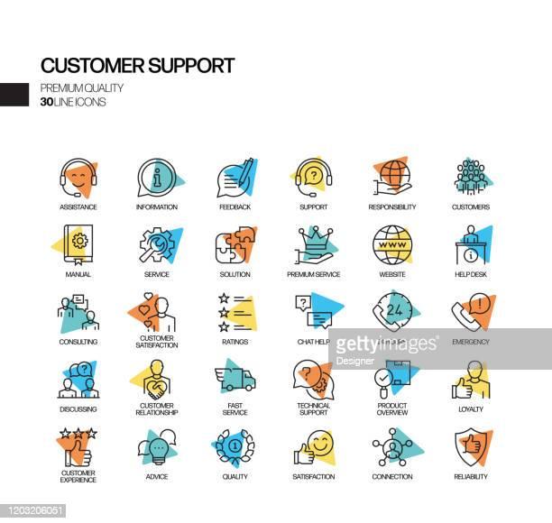 illustrazioni stock, clip art, cartoni animati e icone di tendenza di semplice set di icone della linea vettoriale spotlight correlate all'assistenza clienti. insieme outline symbol. - call center