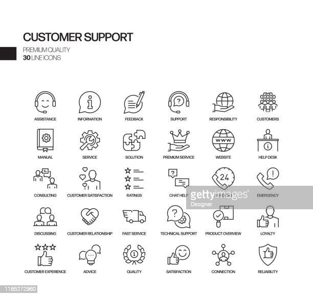 simple set of customer support related vector line icons. outline symbol collection. - customer service representative stock illustrations