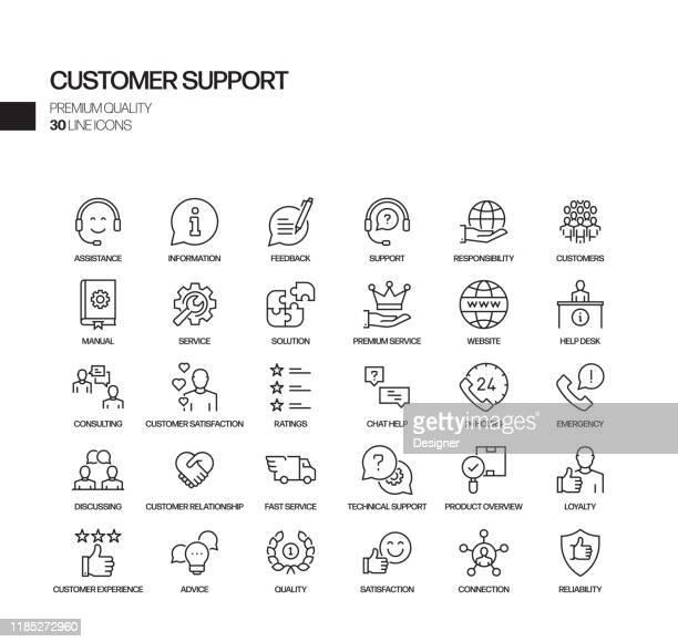 illustrazioni stock, clip art, cartoni animati e icone di tendenza di set semplice di icone di linea vettoriale correlate all'assistenza clienti. insieme outline symbol. - assistenza
