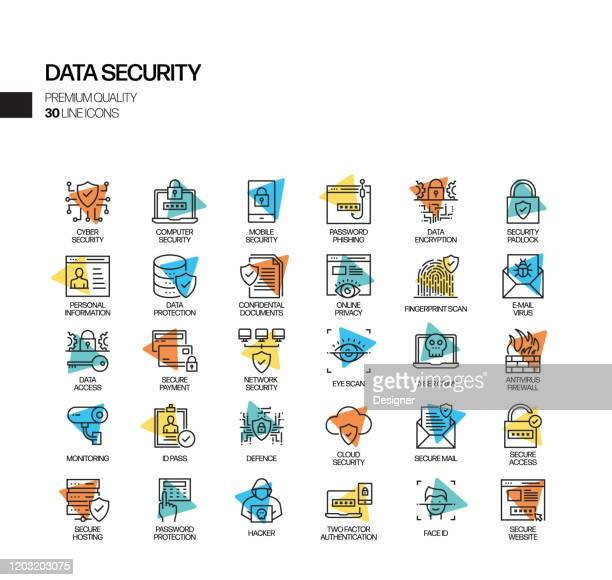 simple set of data security related spotlight vector line icons. outline symbol collection. - permission concept stock illustrations