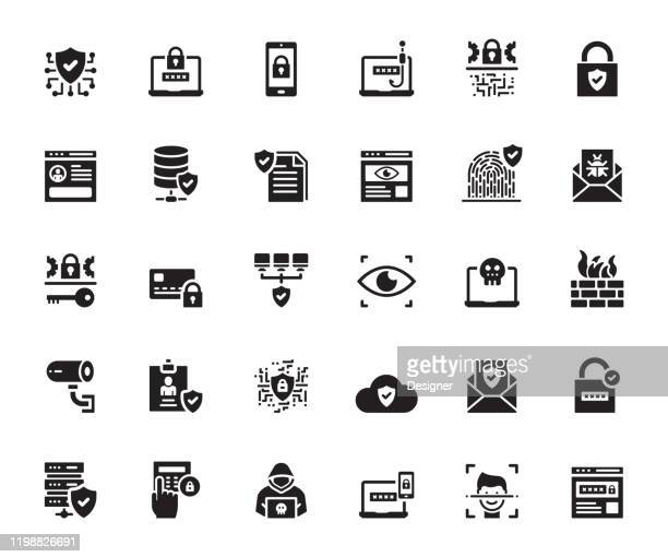 simple set of data security related vector icons. symbol collection. - permission concept stock illustrations