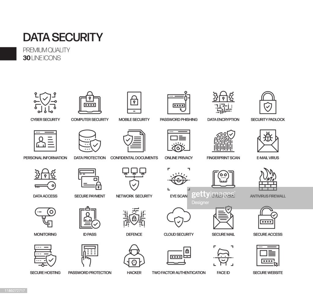 Simple Set of Data Security Related Vector Line Icons. Outline Symbol Collection. : stock illustration