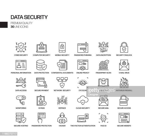 simple set of data security related vector line icons. outline symbol collection. - identity theft stock illustrations