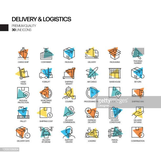 simple set of delivery and logistics related spotlight vector line icons. outline symbol collection - returning merchandise stock illustrations