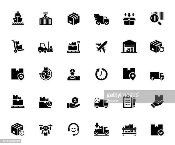 配信およびロジスティクス関連のベクトルアイコンのシンプルなセット。シンボルコレクション - send点のイラスト素材/クリップアート素材/マンガ素材/アイコン素材