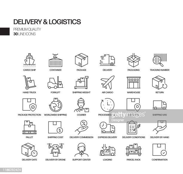illustrazioni stock, clip art, cartoni animati e icone di tendenza di semplice set di icone delle linee vettoriali relative alla consegna e alla logistica. insieme outline symbol - ricevere