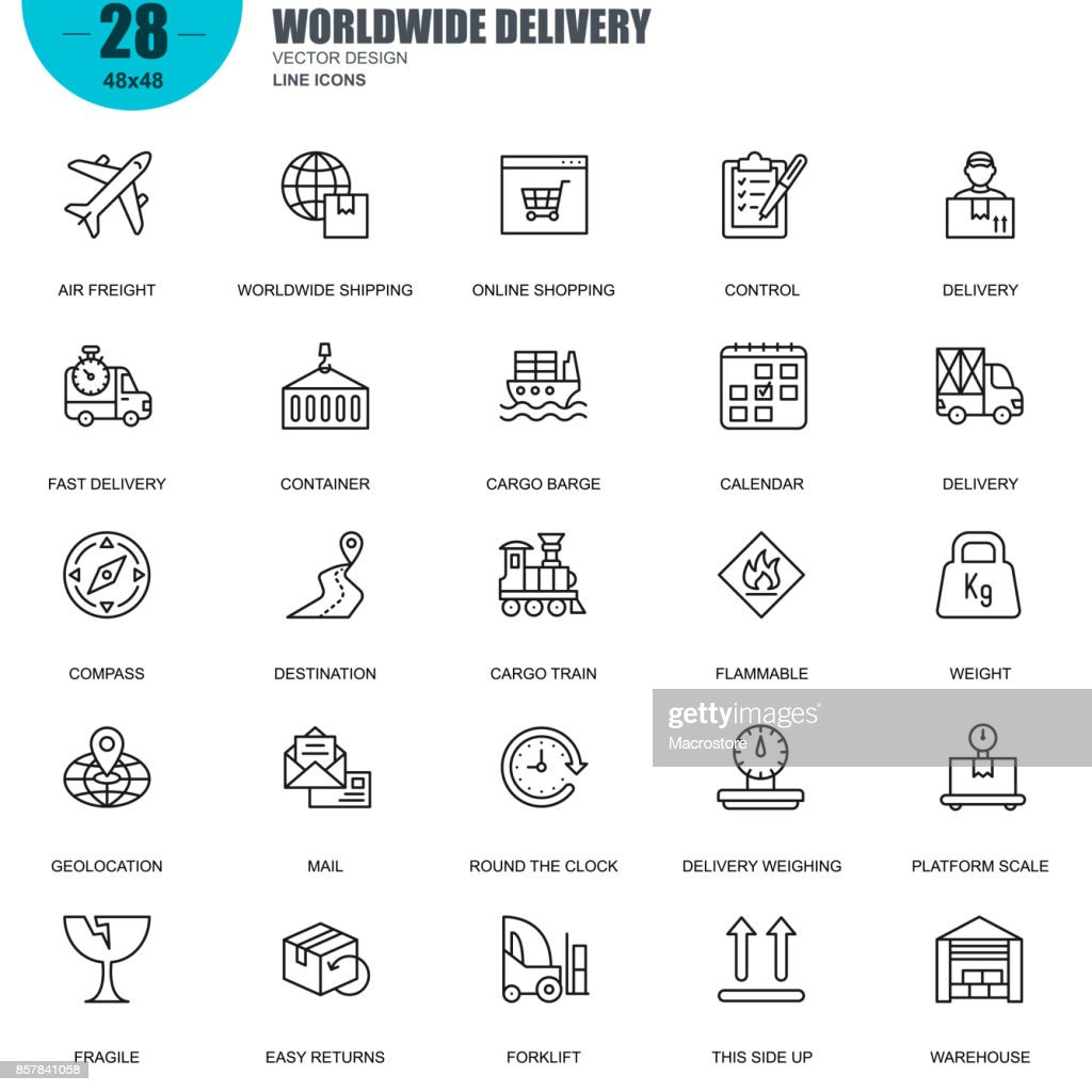 Simple set of delivery related vector line icons