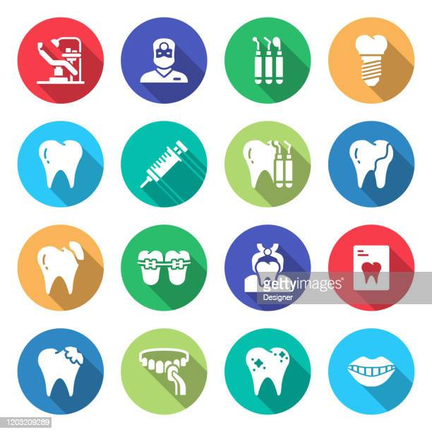 simple set of dental related vector flat icons. symbol collection - mouthwash stock illustrations